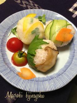 マクロビの手まり寿司3種