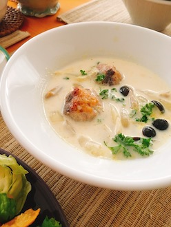 マクロビ大豆ミートのスープ2019.5
